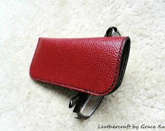 100% hand stitched handmade dark red cowhide leather eyeglasses case