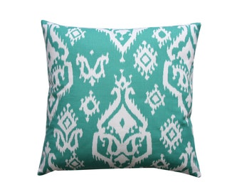 CLEARANCE Throw Pillow- Premier Prints Raji Jade Pillow Cover- 16x16 inch Zippered Cushion Cover- Green Ikat Toss Pillow Case