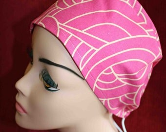 SALE....Gold and Pink Swirls Cap (biker/chemo/surgical)
