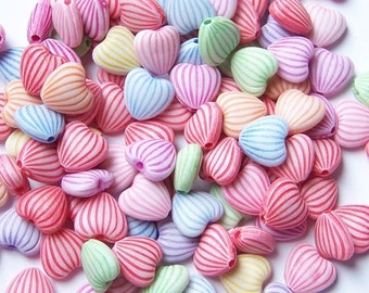 30/Acrylic Heart Beads/Acrylic Candy Heart Beads/Pastel Hearts/Pastel Colors/Pastel Beads