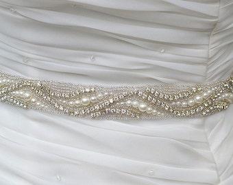 SALE Rolar Wedding Belt, Bridal Belt, Sash Belt, Crystal Rhinestones & Pearls