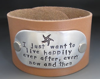 Happily Ever After Leather Cuff Bracelet - Jimmy Buffett Bracelet