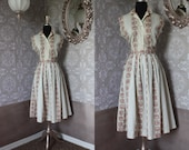 Vintage 1950's Pink and White Cotton Two Piece Skirt and Top Medium