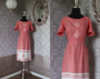 Vintage 1950's 60's Coral Pink and White Fitted Dress S/M