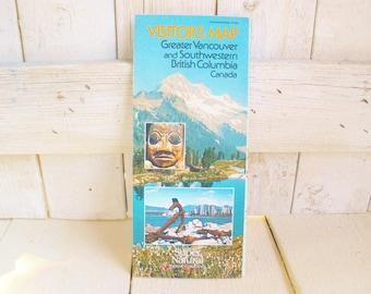 Vintage Vancouver map SW British Columbia tourist folded paper souvenir 1980s