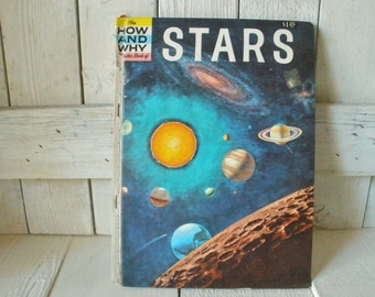 Vintage book Stars How and Why childrens Wonder retro color illustrations 1960