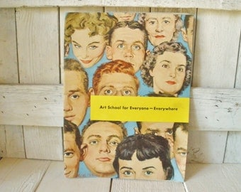 Vintage book Famous Artists School brochure commercial artist course and original artwork 1956- free shipping US