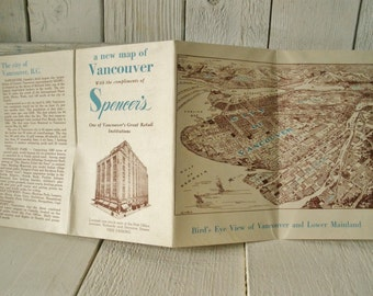 Vintage folded map city guide Vancouver British Columbia Canada Spencers Department Store 1940s