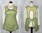 Retro 50s Smock Apron - Vintage Paisley in Limeade - no neck ties comfort, made-to-order XS to Plus Size