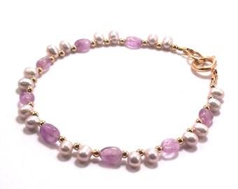 Purple Amethyst and Lilac Freshwater Pearl February Birthstone Bracelet