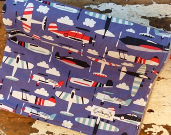 LAST ONE Minky Baby Blanket - Aviator Blue Airplanes - Baby Boy - Blue, Red, Grey and Black - Choose color backing