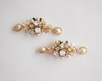 Bridal Opal Gold Shoe Clip- Swarovski Crystal and Rhinestones Shoe Clips  - Wedding  Shoe Accessory