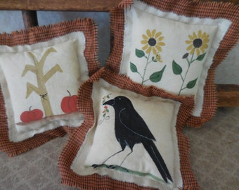 Primitive Pillow Tucks Fall Bowl Fillers Crow Sunflowers Corn Stalks Hand Painted Folk Art