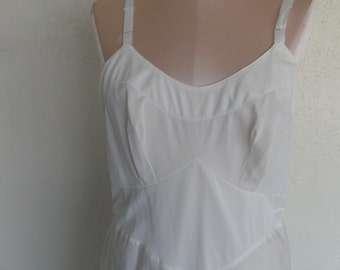 Vintage Full Slip White Taffeta Nylon Size 38 American Maid Bridal Wedding