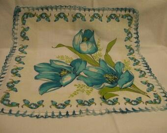Vintage Tulip Handkerchief Aqua Blue Floral Crochet Trim Hankie