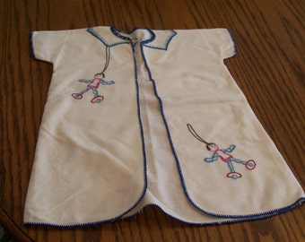 Vintage Baby Robe Flannel Embroidered Choose Toy or Lamb Design Circa Mid Century 1950s Newborn Baby Layette Robe Hand Stitched Embroidery