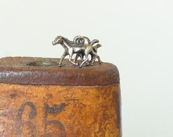Vintage Horse Charm -  Horse Charm -  Sterling Silver Charm -  Mare & Foal Horse Charm -  Animal Charms - Vintage English Silver