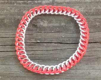 Red Rubber Half Persian 3 in 1 Chainmaille Bracelet