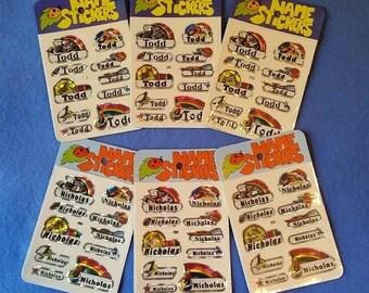 Vintage 1980s Prismatic Name Stickers, three packs, Nicholas or Todd, new in package NIP
