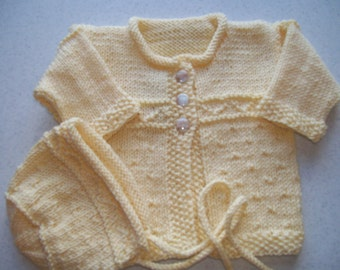 Infant Cardigan and Hat