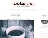Pink and Black Modern Blog Design - Mobile Responsive Blog - Premade Blogger Template - Blush Pink Watercolor Blog - Pink Black & Gray Blog