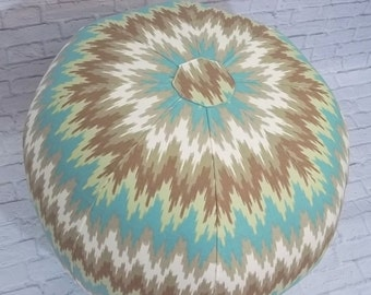 Eye Catching Ikat Chevron Pouf