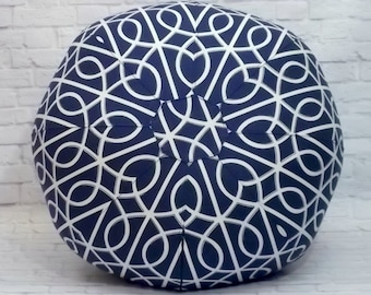 Geometric Navy and White Floor Pouf