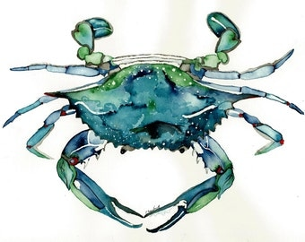 Watercolor print of Atlantic Blue Crab from original painting nautical art 8x10