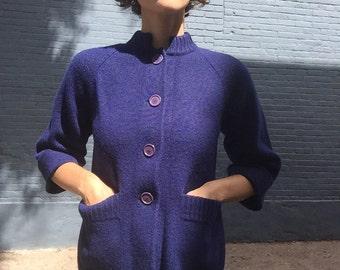 60s Navy Swing Sweater Cardigan - M