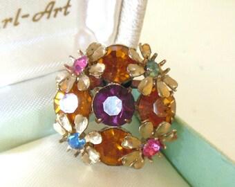 Vintage Rhinestone Brooch Flower Round Topaz Purple Pink Gold 50's (item 241)