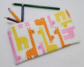Giraffe Pink print Pencil Case/ Crayon Case/Makeup Bag/ Cosmetic Case/ Ready to Ship