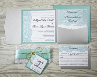 Rustic Lace Wedding Invitations - Aqua and Lace Wedding Invitations - Rustic Pocketfold Wedding Invitations