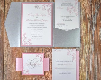 Printed Wedding Invitation - Pocketfold Wedding Invitation - Silver and Blush Wedding - Blush Pink Wedding Invites
