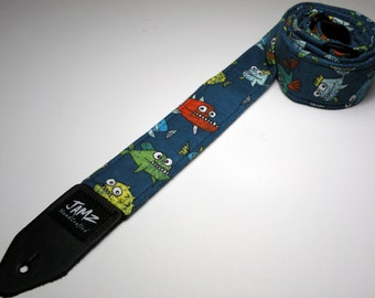Handmade double padded ZOMBIE FISH guitar strap