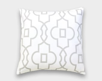 CLEARANCE 50% OFF French Grey Bordeaux Pillow Cover. Geometric Lattice. 16X16, 18X18, 20X20 Inches. Gray Cushion Cover.