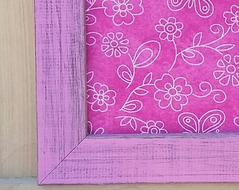 square pink frame, Magnetic board,  pink and light pink floral pattern Fabric