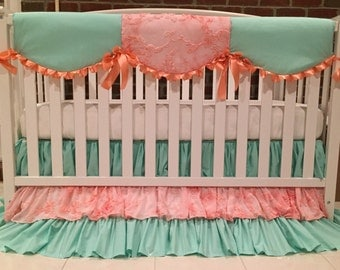 Custom Crib Skirt and Rail Guard Mint / Peach chiffon