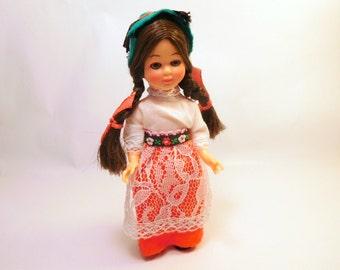 "Vintage DOLL Swiss, German, Austria - International Dolls of the World, Sleepy Eyes, Blinks, Small 5 3/4"" - Hong Kong"