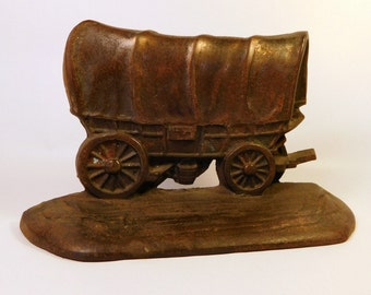 COVERED WAGON BOOKEND - Vintage W.H. Howell - One (1) Bookend - Metal Book End - Rustic Decor - Cabin - Western - MidWest