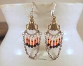 Ghost Halloween Earrings, Day Of The Dead Earrings, Steampunk Earrings, Beaded Dangle Pierce Earrings. CKDesings.us