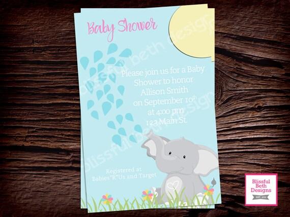 PERSONALIZED ELEPHANT INVITATION Elephant Baby Shower Invitation, Elephant Baby Shower, Elephant Invitation, Shower Invitation, Baby Shower