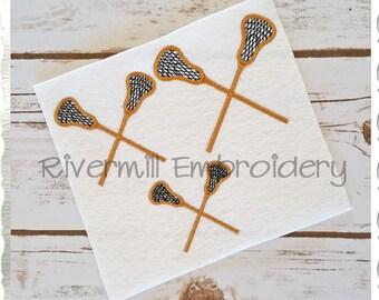 Small Crossed Lacrosse Sticks Machine Embroidery Design - 4 Sizes