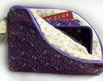 Purple Flower Small Cell Phone Wallet