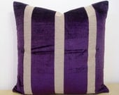 "WIDE STRIPE Empire Royal Imperial PURPLE, dark purple. Velvet and linen 50cm or 20"" Square cushion cover in Osborne and Little fabric."