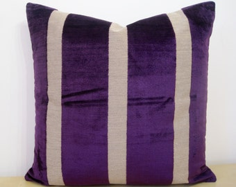 """WIDE STRIPE Empire Royal Imperial PURPLE, dark purple. Velvet and linen 50cm or 20"""" Square cushion cover in Osborne and Little fabric."""