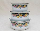 Serving bowls-Dinner-Floral design-Metal-Cooking-Bridal Shower-Gift