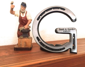 "Metal letter G, initial 5"" tall, horseshoe western decor, engraving optional to personalize"