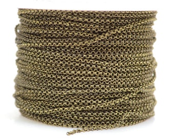 1mm Rolo Chain - Antique Brass - 1.0mm Links - CH130
