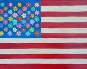 Kerri Ambrosino Art NEEDLEPOINT Mexican Folk Art American Flag Country Flowers