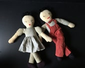 Cloth doll couple vintage so adorable dress overalls bowtie stuffed striped yarn hair well loved great expressions embroidered faces so cute